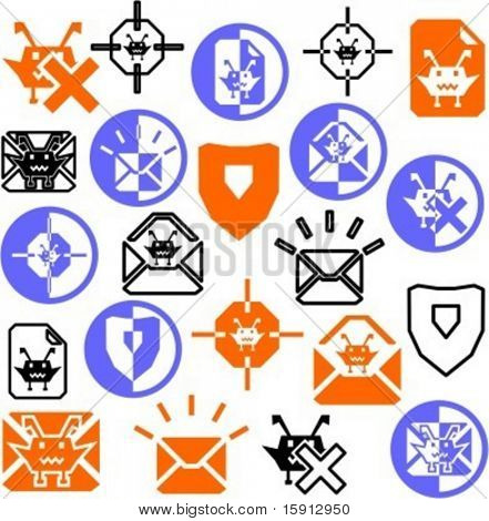 A set of 21 antivirus icons.