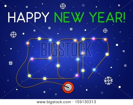 Happy New Year 2017 in the form of a garland. It's snowing. Cord with lights plugged into a power outlet. Vector illustration