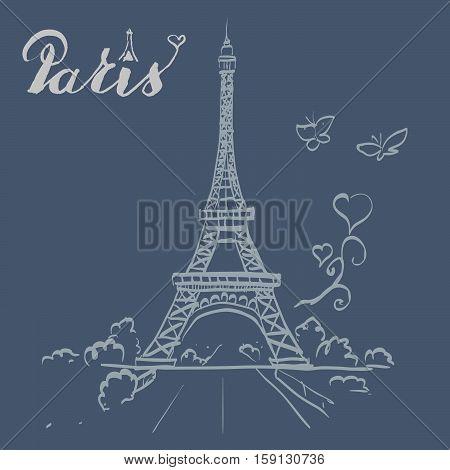 tour Eiffel romantic vector illustration tall, text, tour, tourism