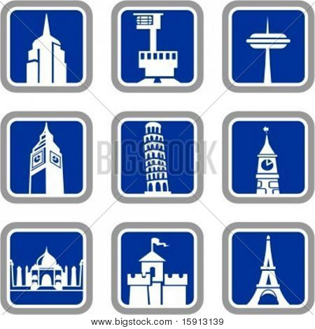 A set of 9 vector icons of buildings.