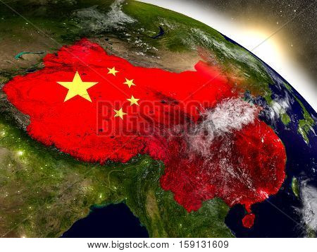 China With Flag In Rising Sun