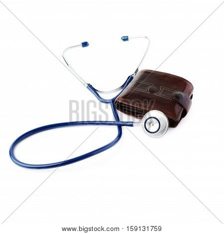 Close up view of blue stethoscope over isolated white background