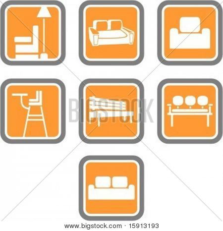 A set of 7 vector icons of furniture objects.