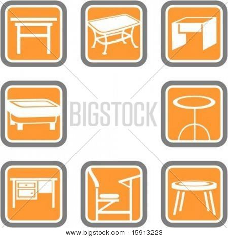 A set of 8 vector icons of furniture objects.