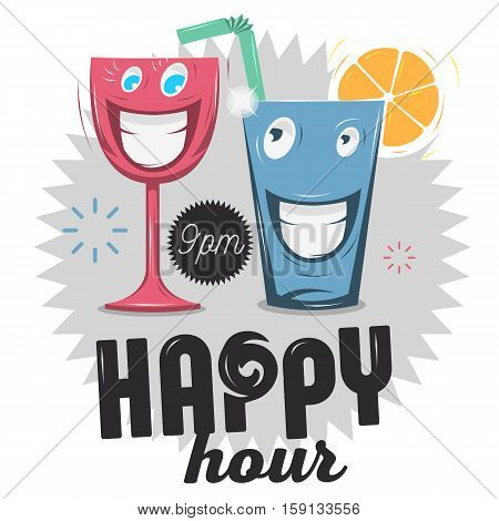 Happy Hour. Funny Cartoon Smiling Glass Characters. Vector Graphic.