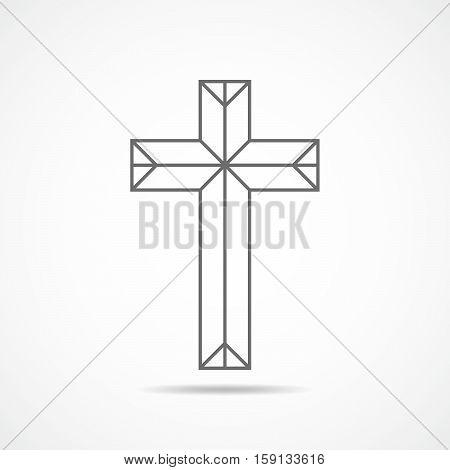 Black christian cross icon. Abstract line christian cross. Vector illustration