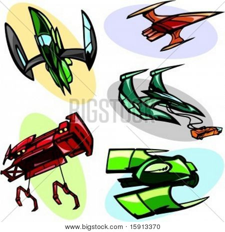 A set of 5 vector illustrations of alien spaceships.