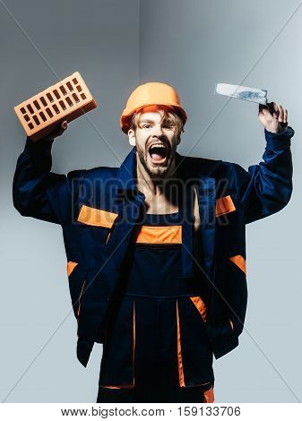 Excited Man Shouting Builder