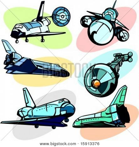 A set of 6 vector illustrations of space shuttles and station.