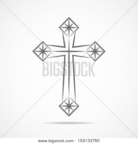 Gray christian cross icon. Abstract christian cross symbol. Vector illustration