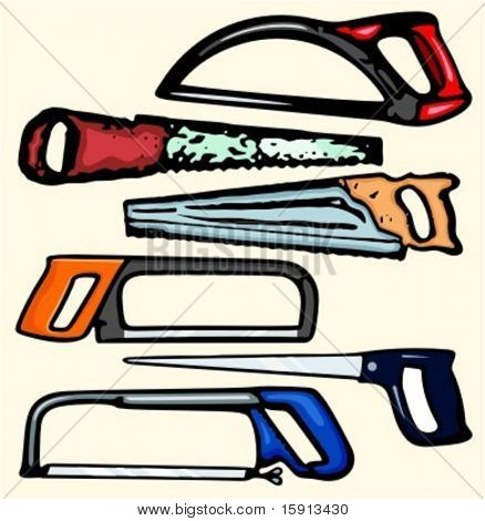 A set of 6 vector illustrations of handsaws.