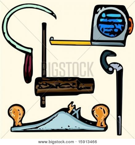 A set of 5 vector illustrations of miscellaneous tools.