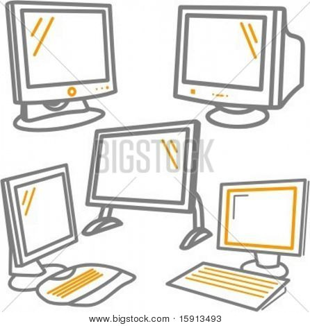 A set of 5 vector icons of monitors.