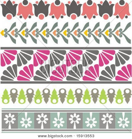 A set of 5 vector floral ornamental borders.