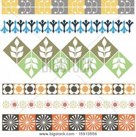 A set of 6 vector floral ornamental borders.