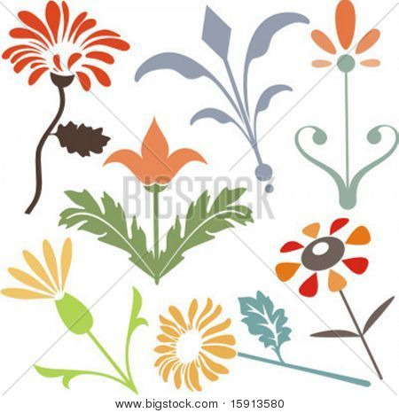 A set of 7 vector floral design elements.