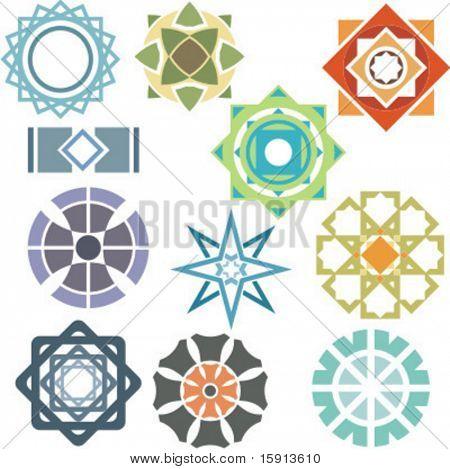 A set of 11 vector ornamental design elements.
