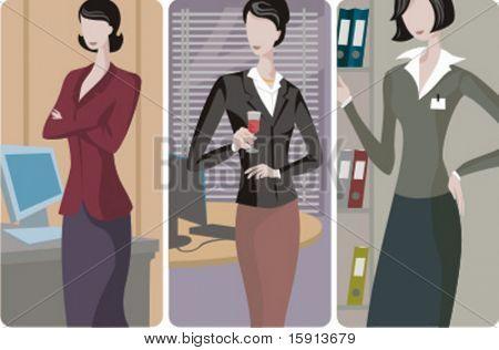 A set of 3 businesswomen vector illustrations. 1) A businesswoman working with a computer. 2) A businesswoman drinking a wine in the office. 3) A businesswoman searching for a folder.