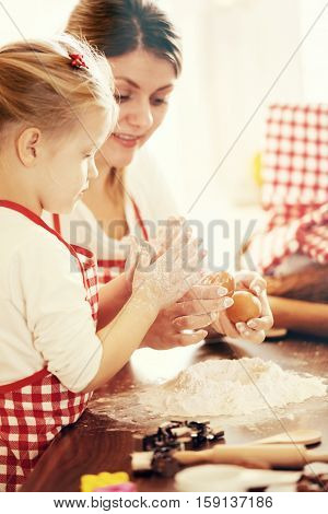Spending Quality Family Time. Baking Cakes.