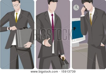 A set of 3 businessmen vector illustrations. 1) A businessman going to a business meeting and holding a suitcase 2) A businessman at a business meeting 3) A businessman speaking on a mobile phone