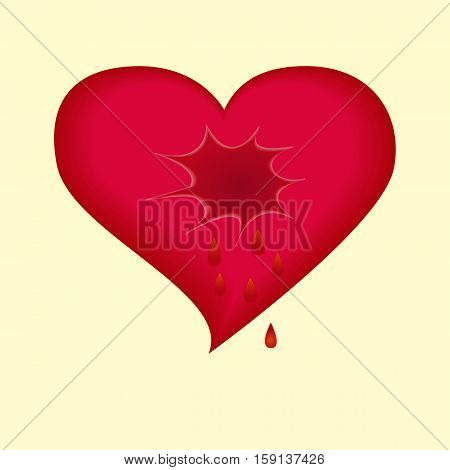 A broken heart is crying tears of blood