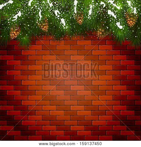 Winter decorations with pinecone and snow, Christmas decorative spruce branches and pine cones on a brick wall background, illustration.