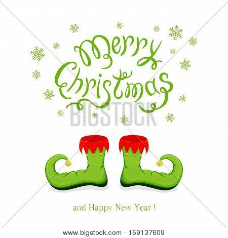 Green shoes elf isolated on white background and lettering Merry Christmas and Happy New Year, illustration.
