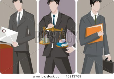 A set of 3 businessmen vector illustrations. 1) A businessman sending a letter. 2) A businessman, operating in the e-commerce and software technology sector. 3) A businessman holding folders.