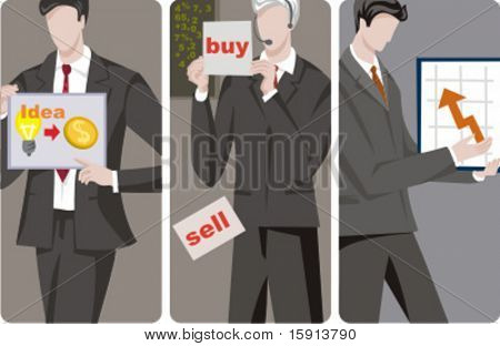 A set of 3 businessmen vector illustrations. 1) A businessman with an idea how to make money. 2) A stock market agent or broker. 3) A businessman looking at a chart.