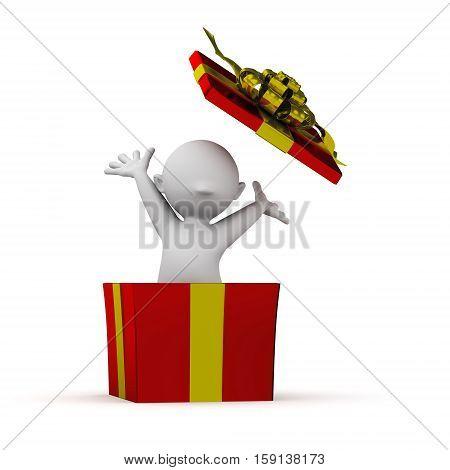 3d human inside a surprise box christmas gift