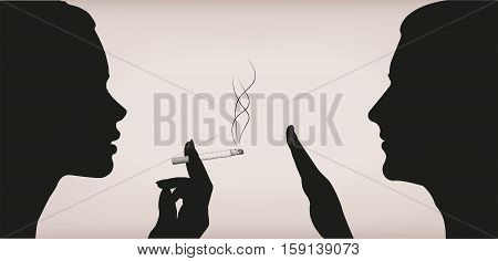Woman female girl lady smoking smoke cigarette men ban prohibit against male face to face profile silhouette. Vector horizontal beautiful lifestyle signclose-up side view illustration color background