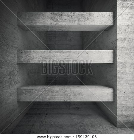 3D Concrete Room Interior With Horizontal Beams