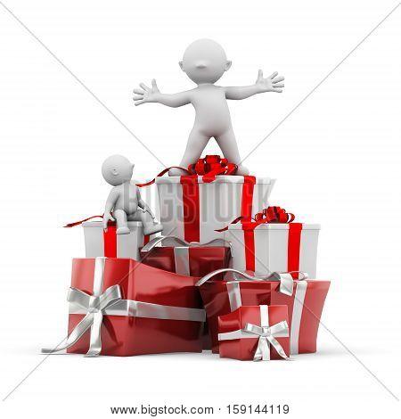 3d human gift stacking christmas winner shopping