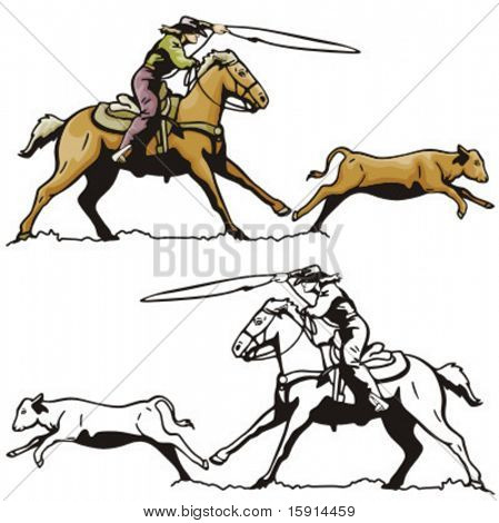 Illustration of a rodeo calf roping.