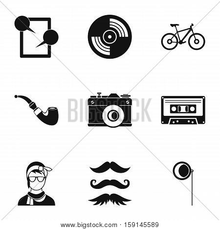 Subculture hipsters icons set. Simple illustration of 9 subculture hipsters vector icons for web
