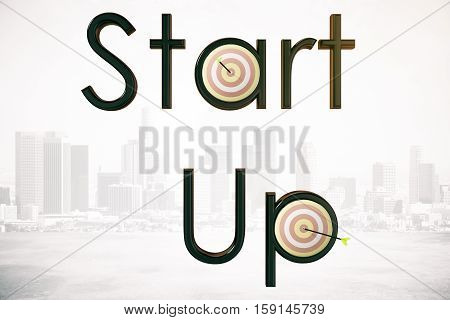 Abstract 'Start up' text with dartboards and arrows on city background. 3D Rendering. Startup and aiming concept