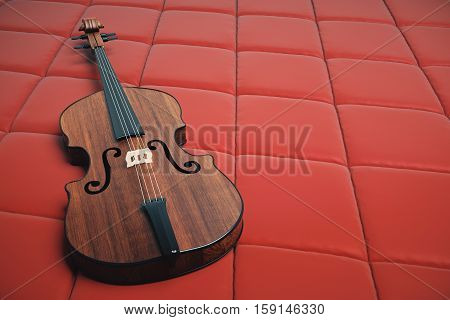 Violin On Red Background