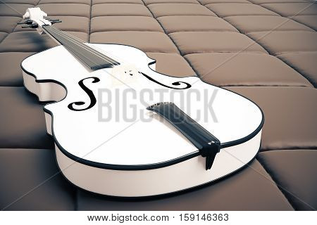 White Violin On Brown Background
