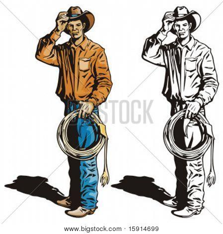 Ilustração de um vaqueiro segurando um laço.