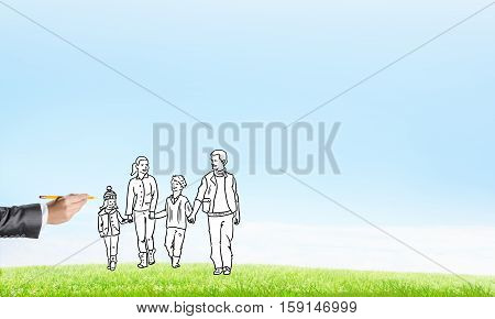 Hand drawn happy family in casual clothes with two children