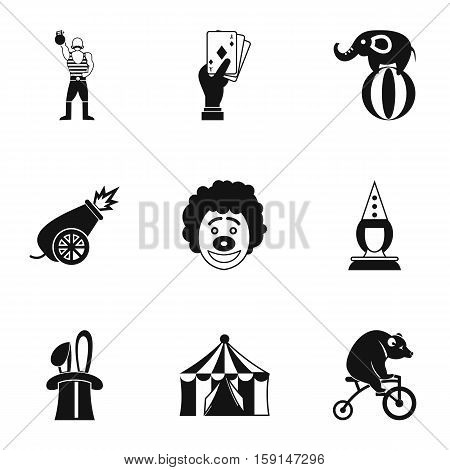 Concert in circus icons set. Simple illustration of 9 concert in circus vector icons for web