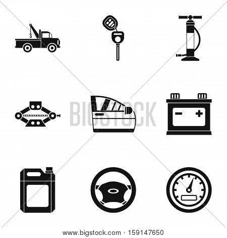 Car repairs icons set. Simple illustration of 9 car repairs vector icons for web