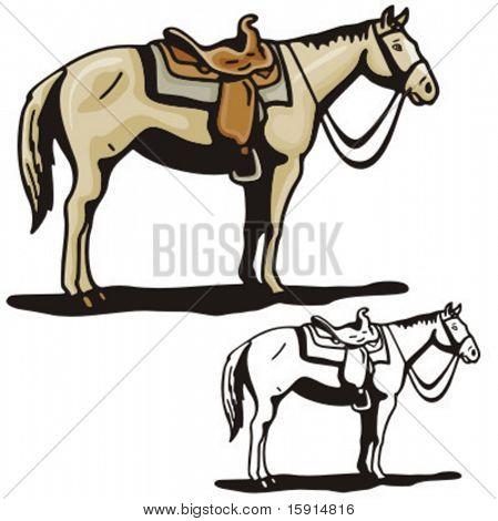 Illustration of a saddled horse.