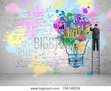Back view of businessman on ladder drawing lamp and mathematical formulas on wall. Successful business and education concet