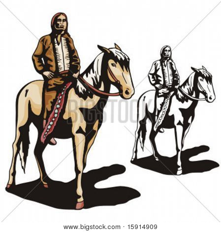 Illustration of an indian riding a horse.