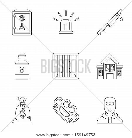 Illegal action icons set. Outline illustration of 9 illegal action vector icons for web