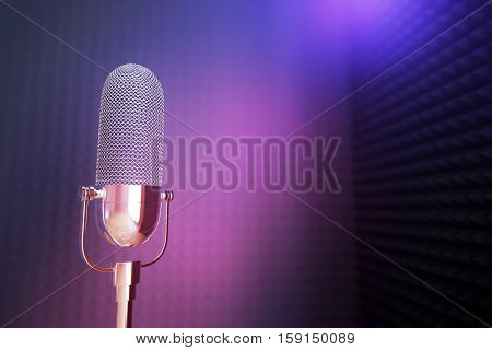 Close up of mic on purple background with copy space. 3D Rendering