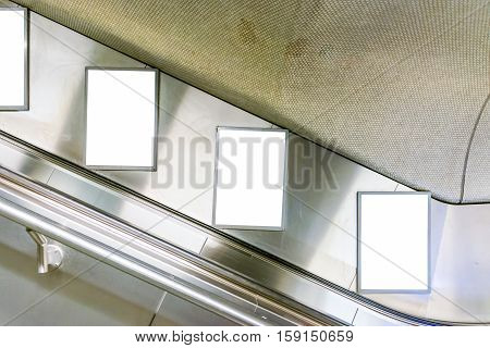 Escalator Ad Space Advertisement Subway Station Metal Interior Clipping Path