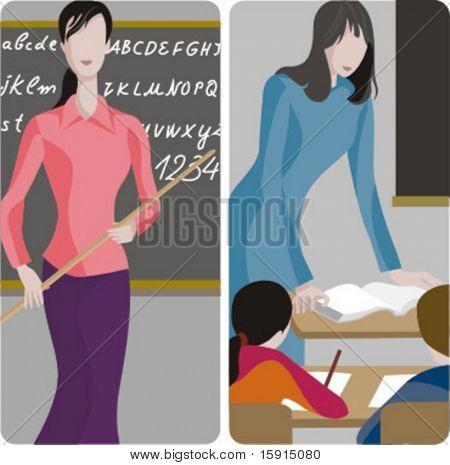 Lehrer-Illustrationen-Serie.  1) Elemenary Lehrer das Alphabet. 2) Volksschullehrer Tee