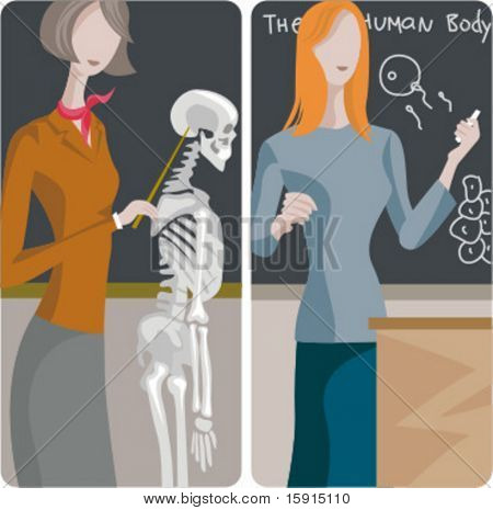 Teacher illustrations series. 1) Biology teacher examining a skeleton. 2) Biology teacher teaching a propagation lesson in a classroom.